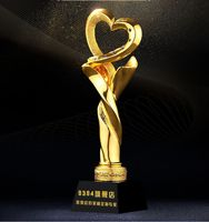Top quality!Love Hope Gold Plated Trophy Competition Souvenir Charity Gala Awards Trophy,Free shipping!