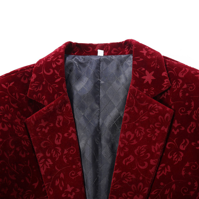 PYJTRL Men Autumn Winter Wine Red Burgundy Velvet Floral Pattern Suit Jacket Slim Fit Blazer Designs Stage Costumes For Singers Men Blazers