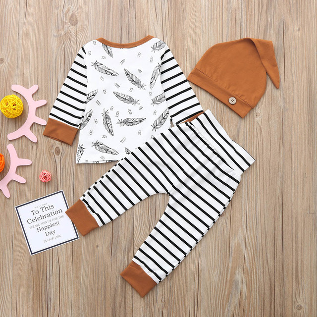 3 pieces Set - Feather T shirt Top, Striped Pants and Cute Hat