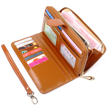 Hot Sale Wallet Brand Coin Purse oil wax Leather Women Wallet Purse Wallet Female Card Holder Long Lady Clutch Carteira Feminina цена в Москве и Питере