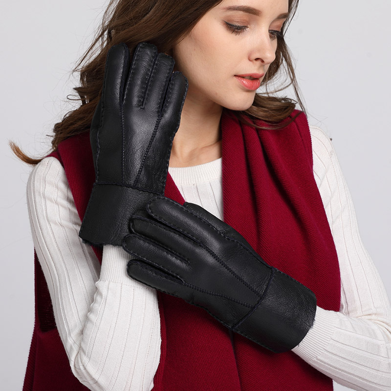 Simple Fashion Winter Women Gloves Windproof Warm Leather Fur Gloves Wool Mittens Ladies Leather Driving Gloves Black AGB614