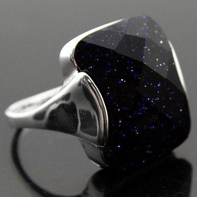 Hot sale>@@ 13*16mm Natural Faceted Blue Sandstone 925 Sterling Silver Ring Size 7/8/9/10 for festival gift