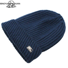 BINGYAUNHAOXUAN Women Winter warm Wool Knit Hats Autumn Fashion Beanies Men Warm Thick Skullies Casual Plus Velours Knitted Caps