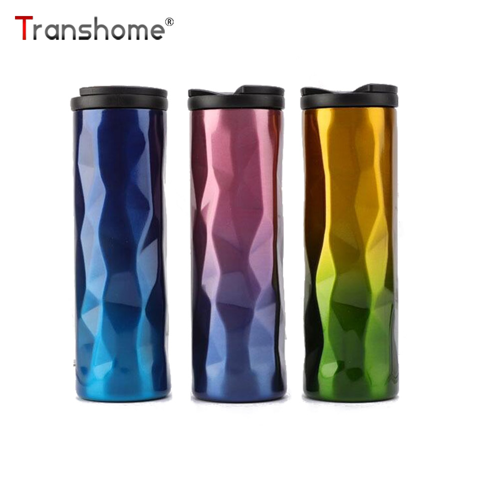 Transhome Mug Coffee-Mugs Stainless-Steel Creative Vacuum-Cup Double-Wall with Lid