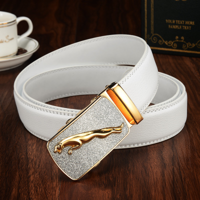 Newest Brand jaguar Leather   Belt   Men Gold Luxury   Belts   Men High Quality white Cowskin   Belt   Casual Automatic Buckle Waistband