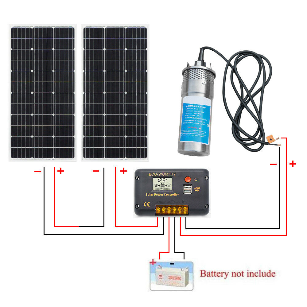 24V Stainless Steel Submersible Water Pump +20A Charge +200W Mono Solar Panel