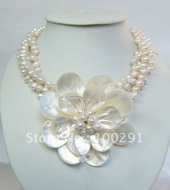 Fashion Stone Holiday Wedding Bridal Handmake Jewelry Freshwater pearl Large Flower Necklace