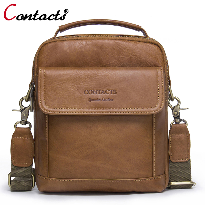 CONTACT'S Men bag Fashion Genuine Leather Men Shoulder Bags handbag High Quality Casual Messenger Bag Business Men's Travel Bags купить в Москве 2019