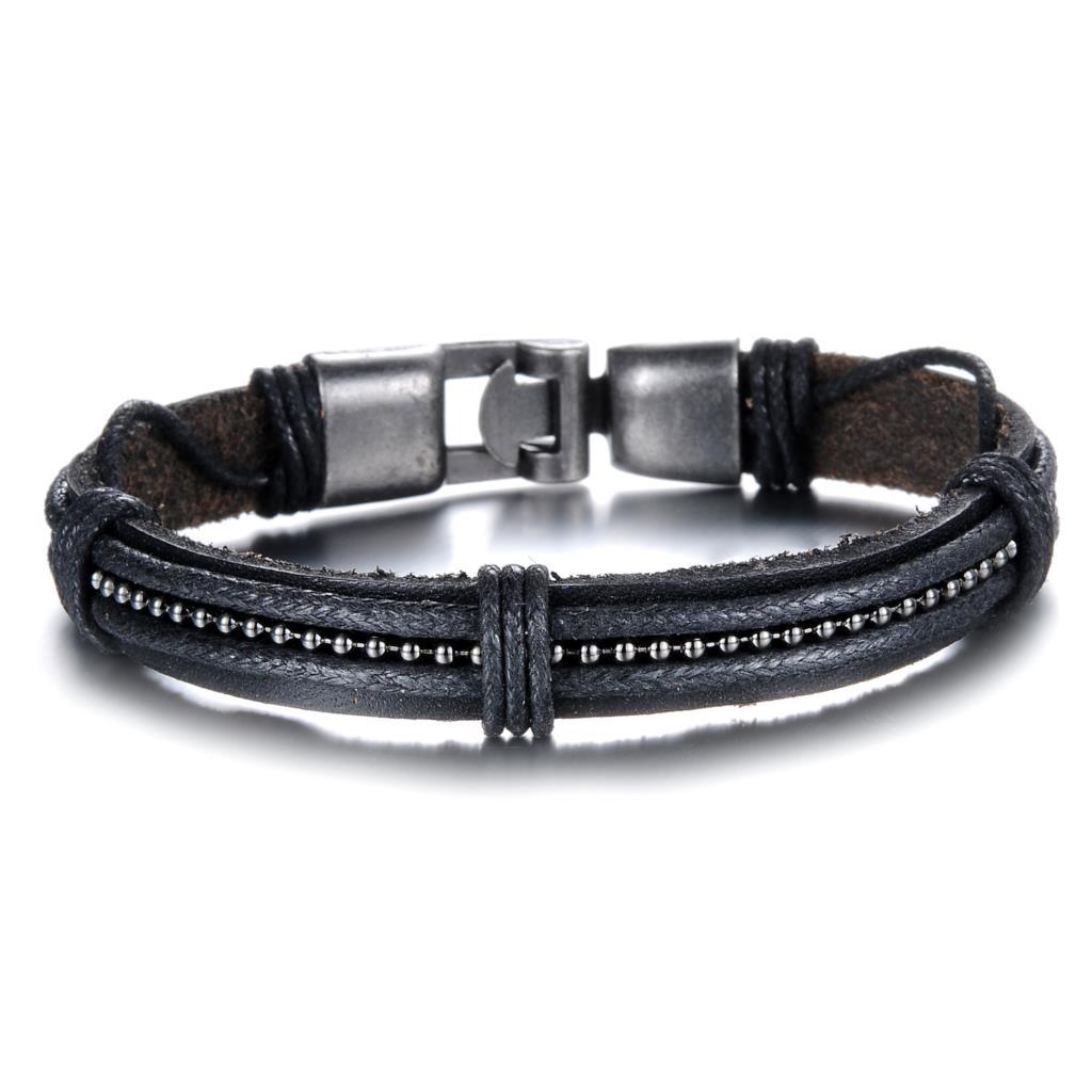 Wholesale 2016 New Fashion Fine Jewelry Specially Designed Leather Braided  Bracelets Tide Men Black Charm Bracelet Phk886
