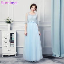 100% Real picture Half Sleeve Sky Blue Cheap Long Evening Dresses 2017 Beautiful Formal Evening Gowns Robe De Soiree Mariage