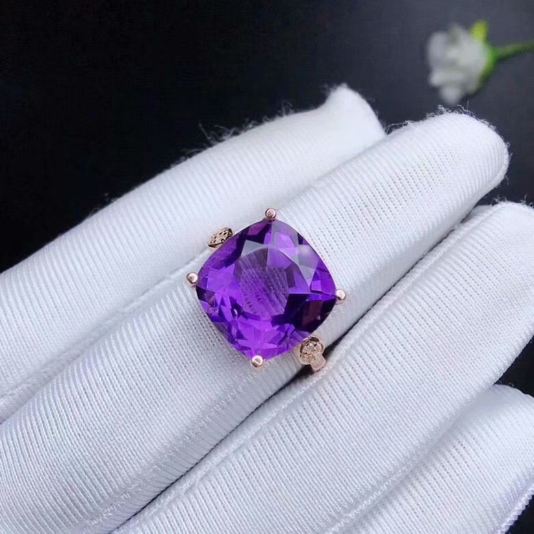 shilovem 925 sterling silver piezoelectric amethyst Rings fine Jewelry square trendy party open classic 12 12mm