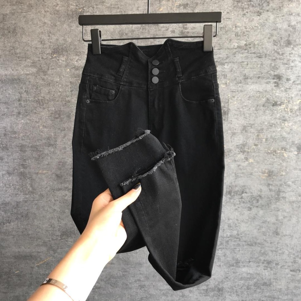 Stretch Denim De 0321 Negro Cintura Alta Moda Pantalones 2019 Damas XqfwHxAnY