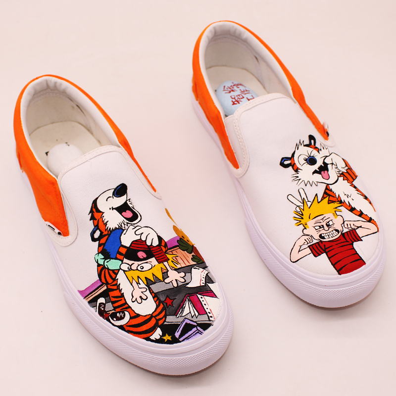 84c21d3eec Calvin and Hobbes shoes news 2018 canvas men and women hand painted slip on  Light casual shoes Perimeter of animation-in Women s Vulcanize Shoes from  Shoes ...