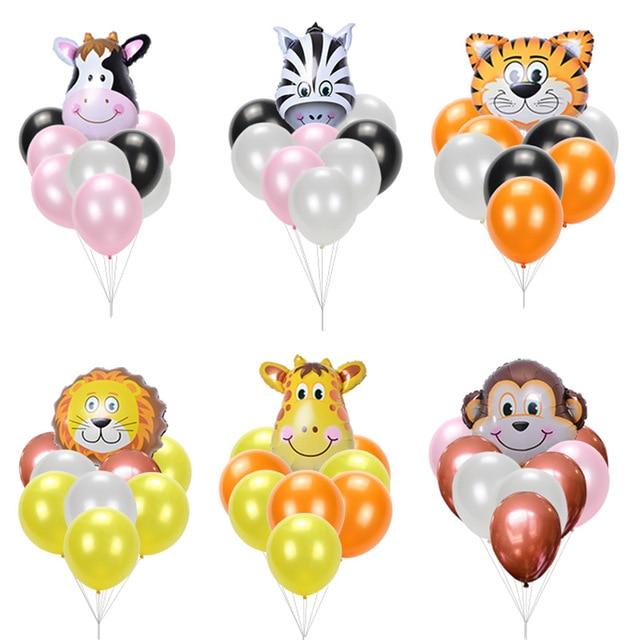 Mini Animal Foil Balloons Latex Balloon set Birthday Balloons Birthday Party Decorations Kids inflatable toys Baby Shower balls