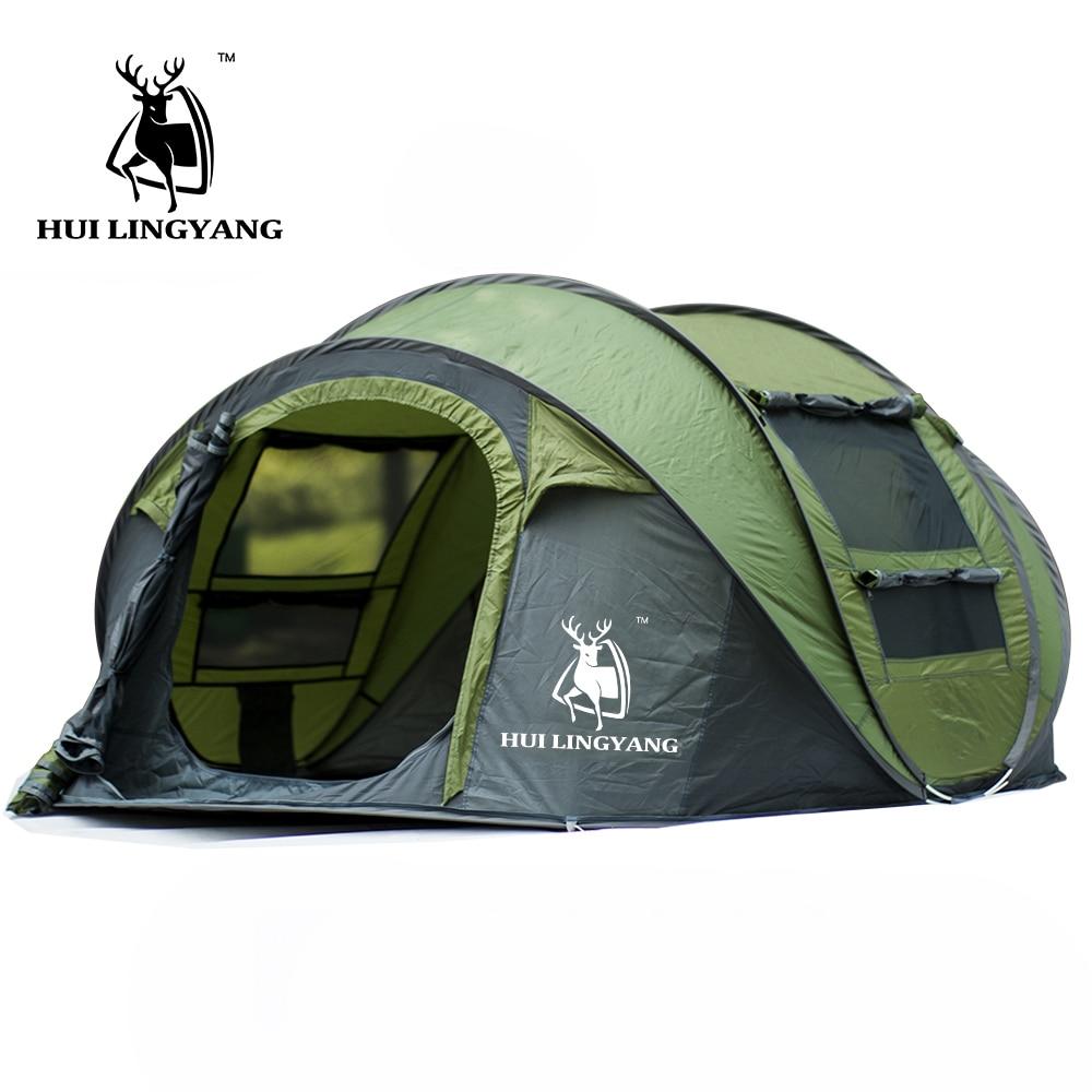 Grand lancer tente en plein air 3-4persons automatique vitesse ouvert jeter pop up coupe-vent étanche plage camping tente grand espace