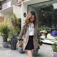 LIGE Office Ladies Notched Collar Plaid Loose casual plaid double breasted blazer 2019 female Korean version