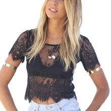 Sexy Lace Look Through See Net Yarn Women Blusas Femininas Short Sleeve Back Zipper O Neck Vintage Blouse  Crop Top  Summer o ring zipper ribbed crop top
