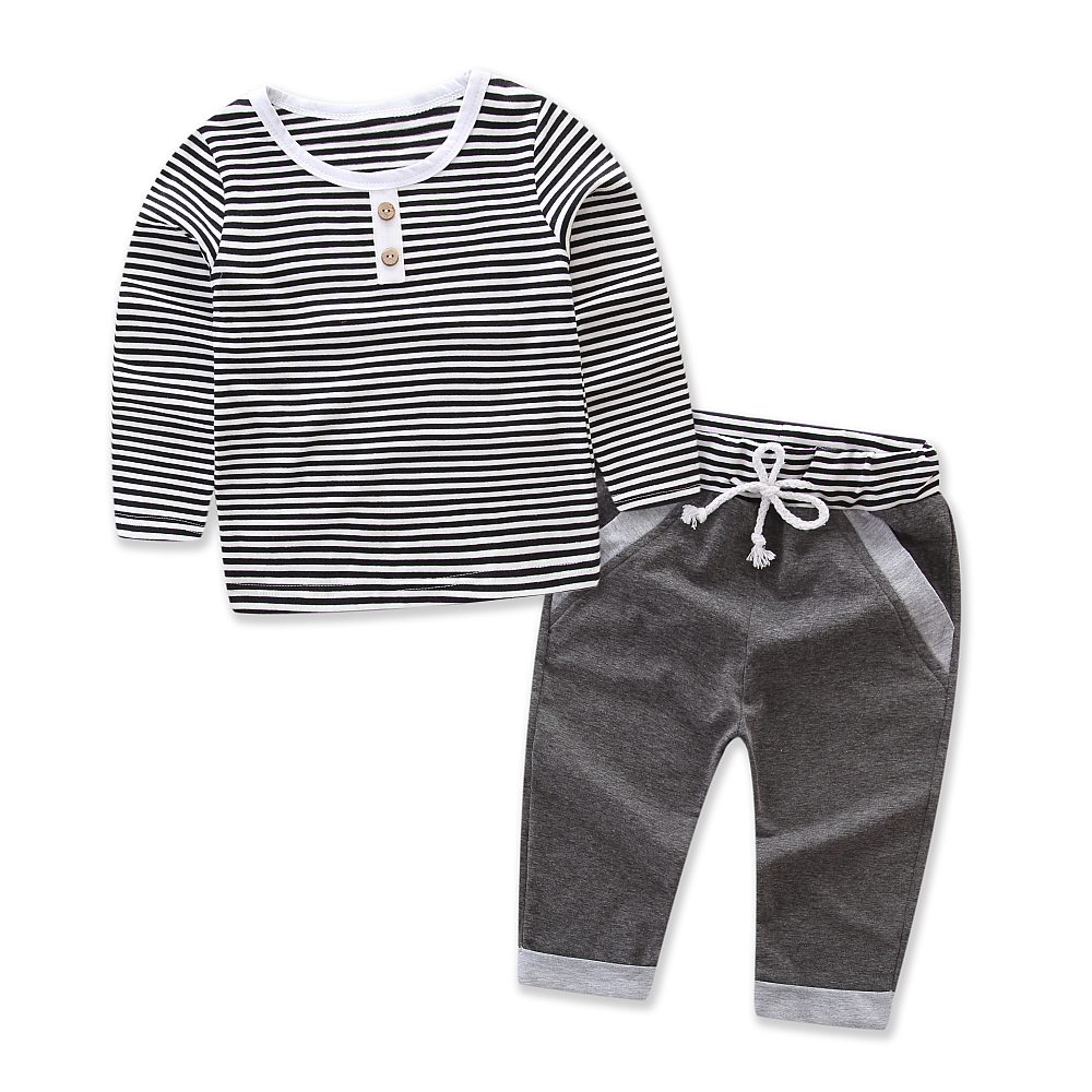 Baby Boy Girl Clothes Stripe T-shirt Grey long Pants Cotton Children's Suit Kids Sport Clothing Set Toddler Suit Size 6M-5Y free shipping children clothing spring girl three dimensional embroidery 100% cotton suit long sleeve t shirt pants