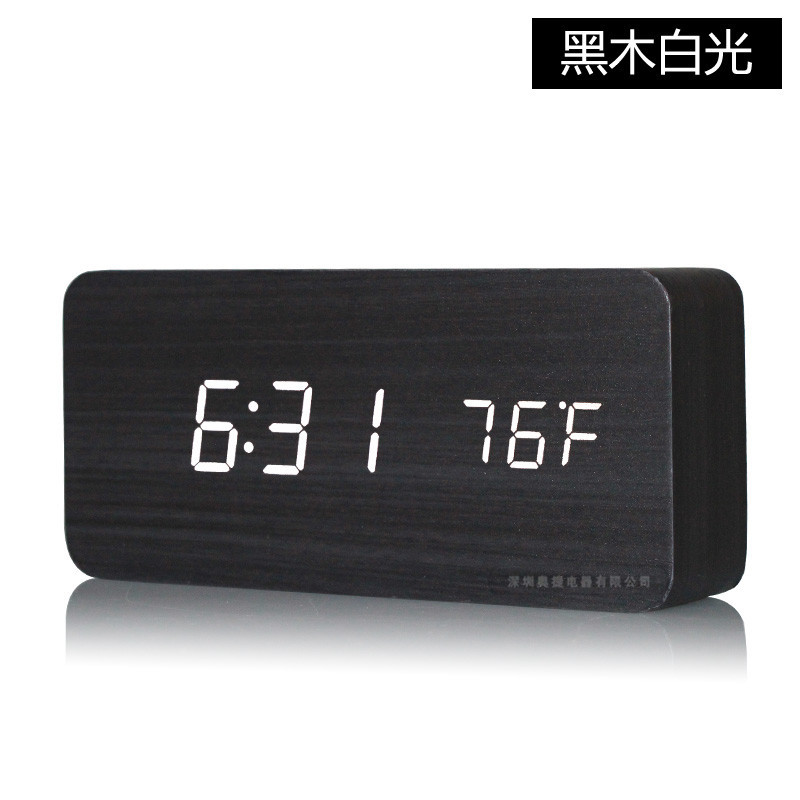 The new creative LED wood clock electronic alarm clock with temperature are 3 working day after the alarm sound mute