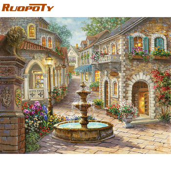 RUOPOTY Fountain Landscape DIY Painting By Numbers Kits Acrylic Picture Modern Wall Art Canvas Hand Painted Oil Painting 40x50