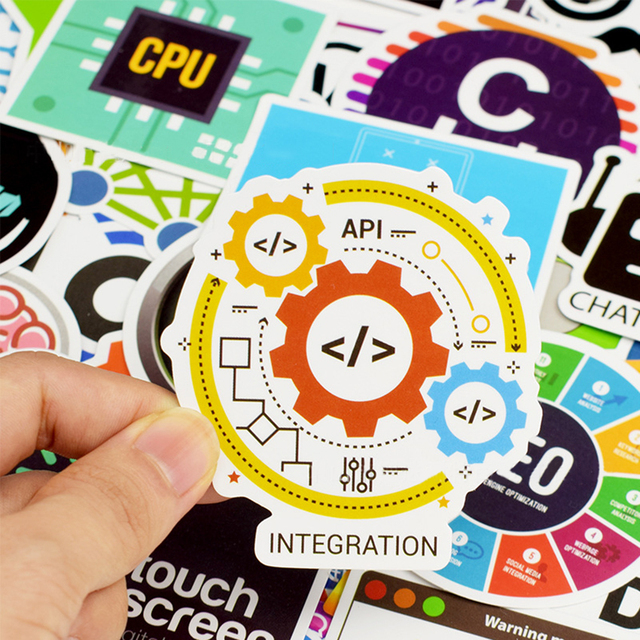 50 PCS Cool Programming Stickers Logo Internet Software Sticker Funny Gift for Geeks Hackers Developers to DIY Laptop Phone  1