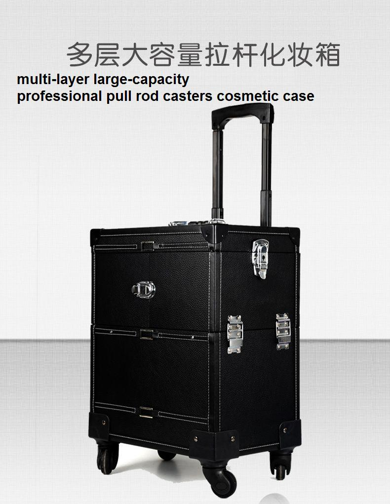 Large complex barber box multi - layer large - capacity cosmetic case professional pull rod casters  cosmetic case