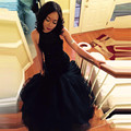 2016 de La Sirena Del Vestido de Noche Robe De Soirée Negro Sexy Full Con Cuentas Sin Espalda Vestido de Fiesta Para Bodas Largo Backless Prom Vestidos