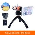 De gama alta 3in117x zoom teleobjetivo lente del telescopio para el iphone 4 4s 5 5s sí 6 6 s 7 más cajas del teléfono kit de lentes de la cámara con trípode