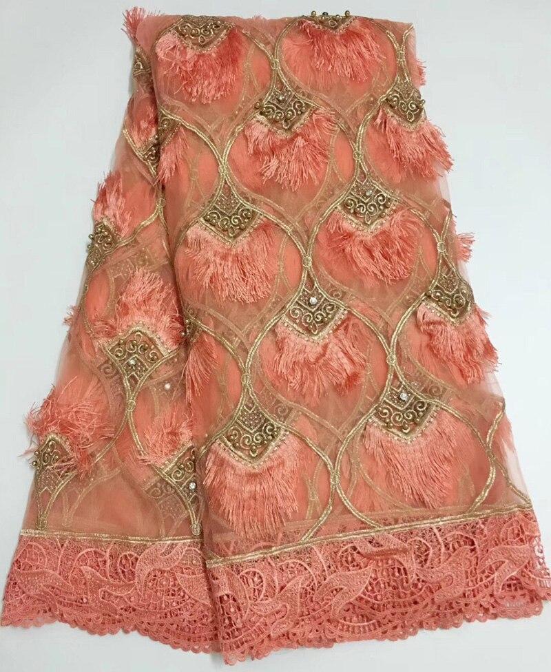 (5 yards/pc) tulle africain dentelle tissu avec perles et diamants mode glands français net dentelle tissu pour robe de soirée FLE03