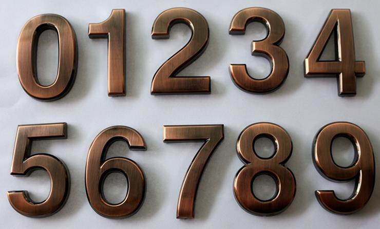 1Pc Bronze 0 9 Modern House Numbers Stainless Steel Number Digits