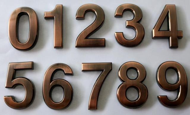 1pc bronze 0 9 modern house numbers stainless steel number digits sticker plate sign door