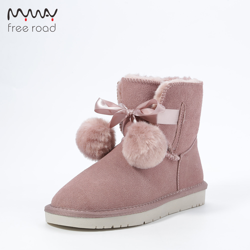 Women Ankle Boots Sweet Cow Suede Leather Pom-pom Style Girls Winter Snow Boots No-slip Sole High Quality Black цена