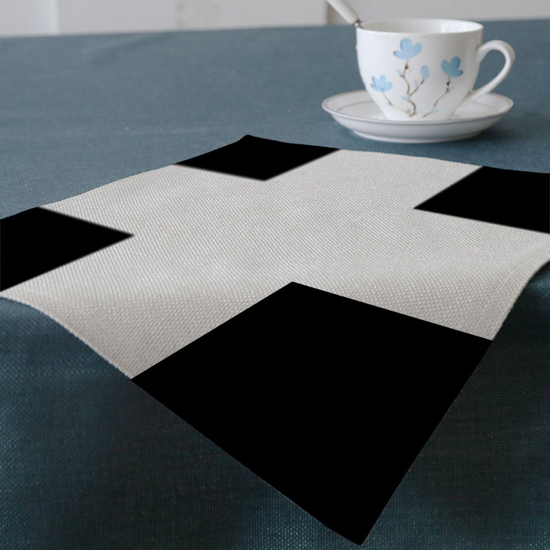 New simple black and white geometric square cotton linen printing mat home hotel decoration gifts West Table Tableware Mat 32*45