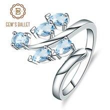 อัญมณีบัลเล่ต์ธรรมชาติ Sky Blue Topaz ของแท้ 925 เงินสเตอร์ลิงแหวนดอกไม้สำหรับผู้หญิงครบรอบของขวัญเครื่องประดับ Fine Fine