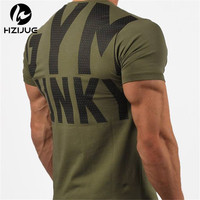 2017 Summer New Mens Gyms T Shirt Crossfit Fitness Bodybuilding Letter Printed Male Short Cotton Clothing