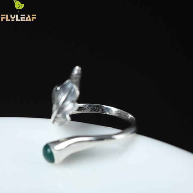 Купить женские открытые кольца с натуральным нефритовым пером и листьями картинки