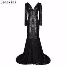 0b98ae6b2 JaneVini Sexy vestido de fiesta negro con cuello en V sirena Bling  lentejuelas manga larga vestidos sin espalda árabe Formal Muj.
