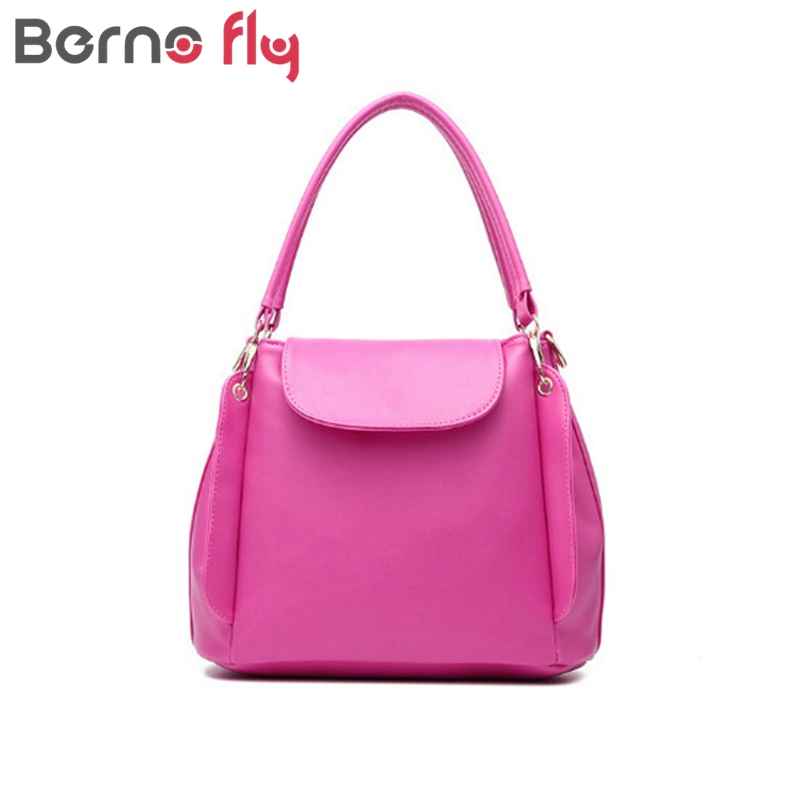 Berno fly Women Casual Tote Bag Female Shoulder Messenger Bags High Quality PU Leather Handbag with Three-tier Capacity Space
