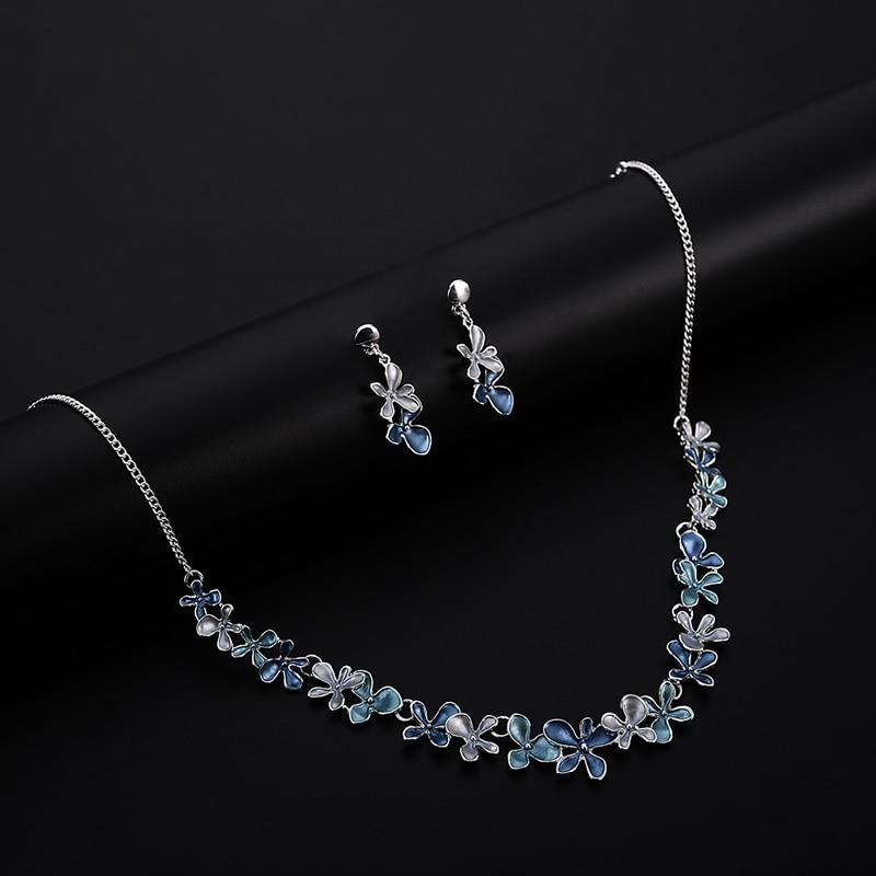 Best-selling Silver Jewellery Flower Pendants Necklaces Teenager Fashion 2019 Bridal Jewelry Set Wedding Drop Dangle Earrings