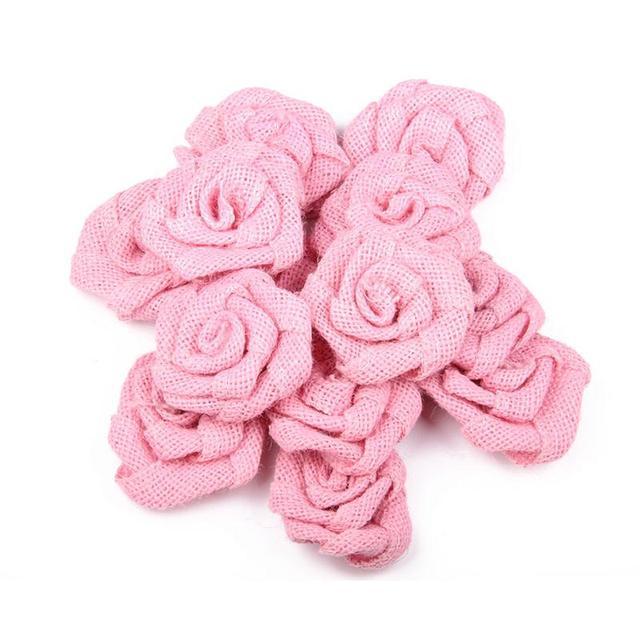 Aliexpress Com Buy 6pcs Burlap Roses Hessian Jute Flower Rustic
