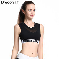 Dragon Fit Mesh Yoga Bra Women Seamless Padded Push Up Bra For Jogging Gym Fitness Cropped