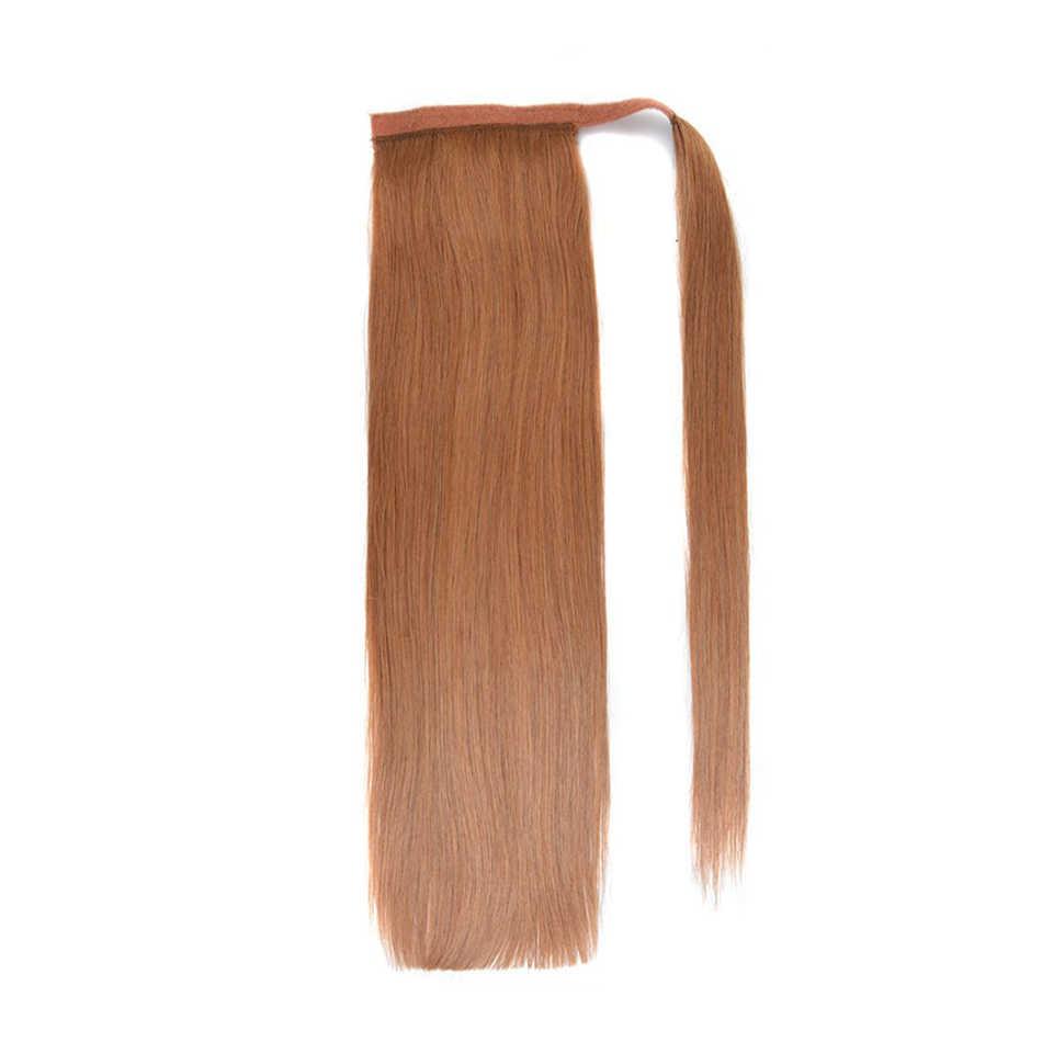 Ali Làm Đẹp 100% Tóc Đuôi Ngựa Remy Châu Âu Thẳng Kẹp Trong Tóc 80G 100G Quấn Quanh Đuôi Ngựa tóc Giả