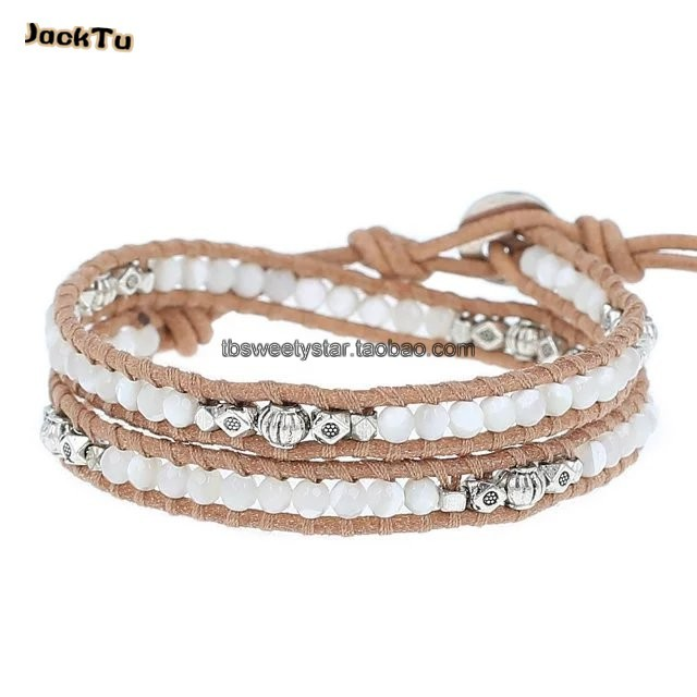 new mother of pearl mix alloy parts double wrap bracelet