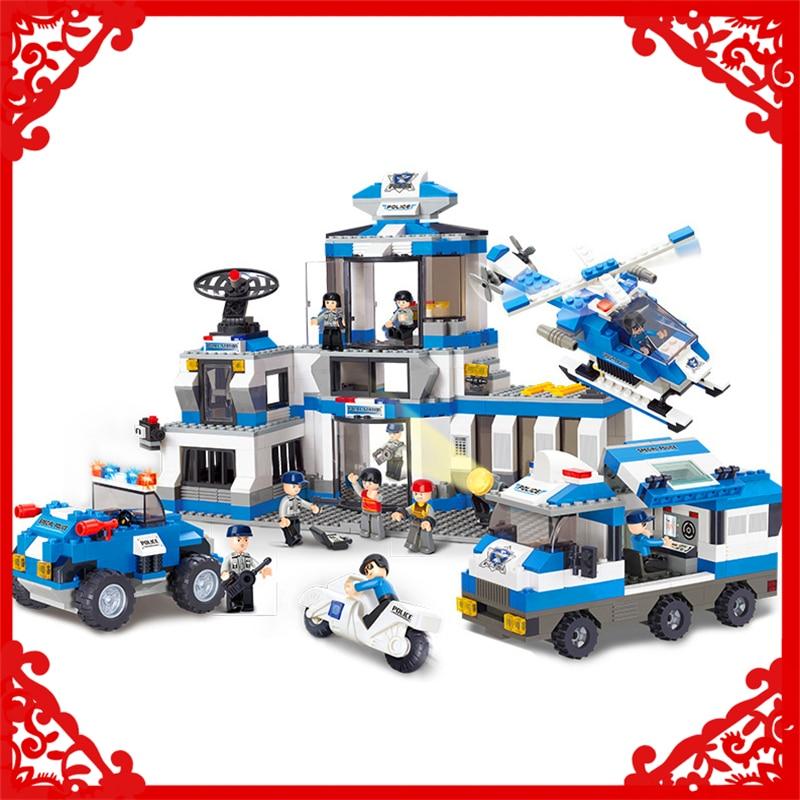 SLUBAN 0193 859Pcs Police SWAT Headquarters Model Building Block Construction Toys Gift For Children Compatible Legoe police pl 12921jsb 02m