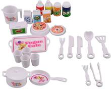 NK 25 Pcs/Set Doll Accessories DIY Play house Mini Simulation Tableware Dolls Kitchen puzzle creative Toys For Barbie Doll DZ(China)