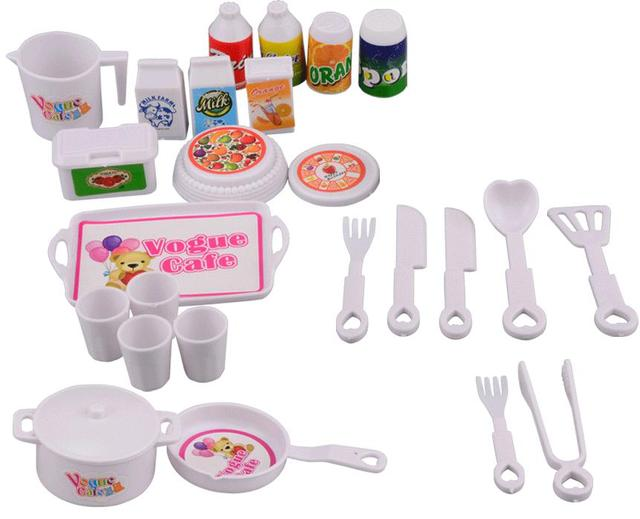 NK 25 pçs/set Acessórios Da Boneca DIY casa de Jogo de Simulação de Mini Bonecas de Mesa Cozinha enigma Brinquedos criativos Para Barbie Boneca DZ