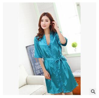 Cheap New 2015 Brand Silk Women Pajamas Sets Sexy Sleepwear Set Silk Nighties Lady Robe Gown Sets Women Sleeping Clothing Dress