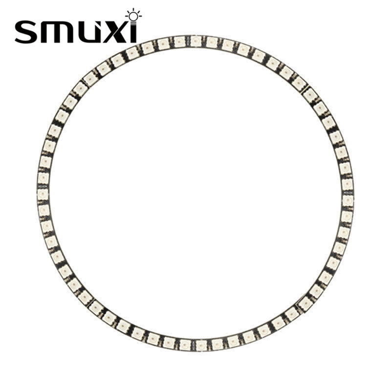 Smuxi RGB LED Lamp Panel Ring Wall Clock 60LED WS2812 SMD 5050 for Arduino 5V 1A keyes 5050 rgb led module for offical arduino products red silver