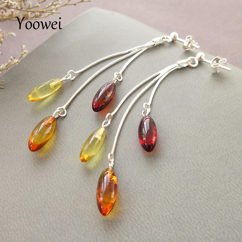 Yoowei Natural Amber Earrings for Women Birthday Gift Genuine Oval Beads Dangling Drop Earrings Baltic Amber Jewelry Wholesale