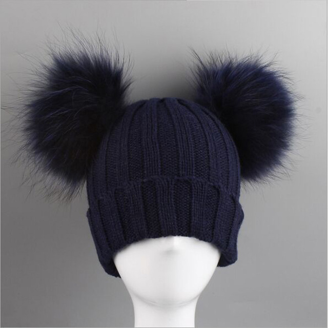 ef171be7a02 Winter Baby Knit Hat With Two Fur Pompoms Boy Girls Natural Fur Ball Beanie  Kids Caps